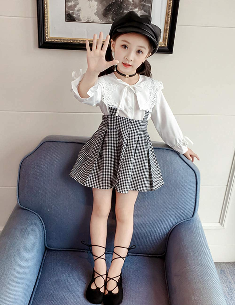 87d41ca73 Amazon.com: Toddler Kid Girl Outfit Long Sleeve Lotus Leaf Lace T-Shirt + Plaid  Strap Overall Dress Suspender Skirt Set for 1-6T: Clothing