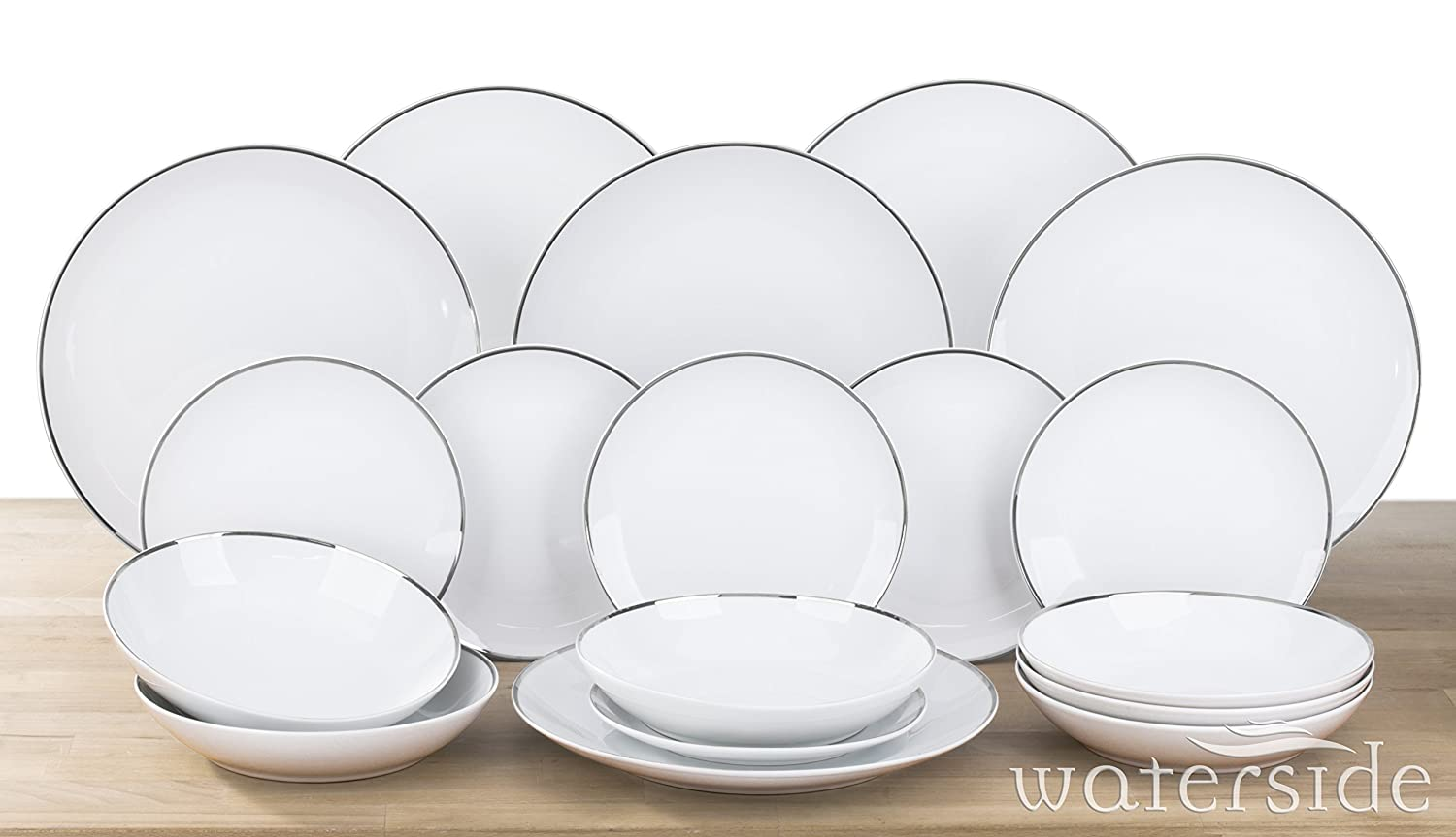 18 Piece Platinum Band Dinner Set Waterside Fine China