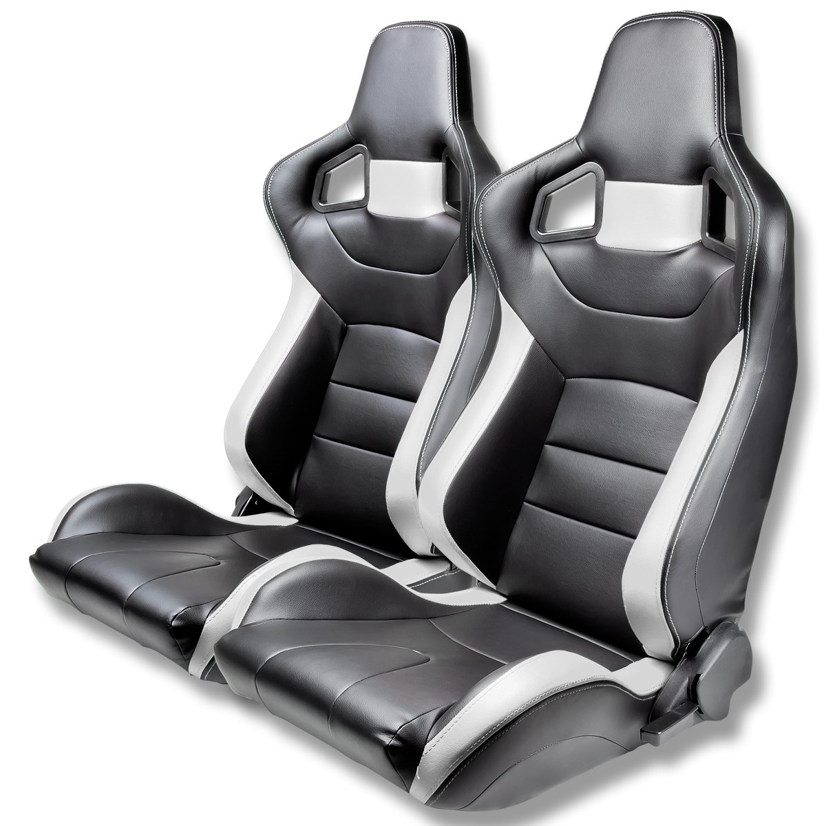 Tuner Series Full Reclinable Black Leather Racing Seats With Silver Trim Set of 2 Auto Dynasty
