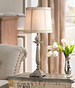 Shabby Chic Table Lamp Antique White Washed Petite Artichoke Font Beige Fabric Bell Shade for Living Room Family Bedroom - Regency Hill