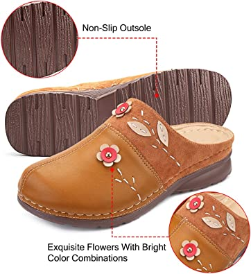 Sabots en Cuir PU Brod/és Clogs avec Fleurs /à Enfiler Mules Plates Chaussures /Ét/é Confortables Chaussons d/'Ext/érieur Printemps Semelle Super Confort Noir Marron gracosy Sandales Femme