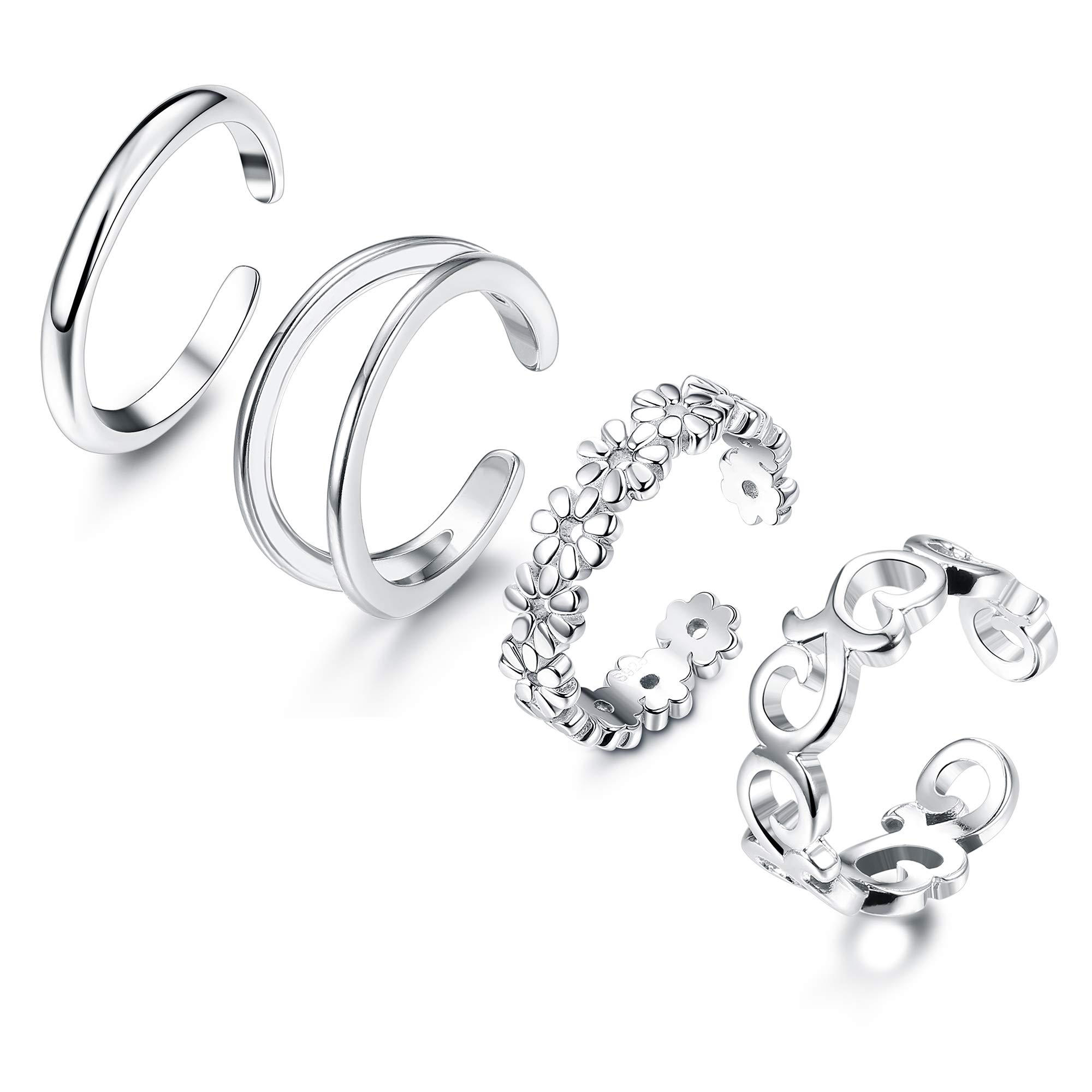 Adramata 4 Pcs 925 Sterling Silver Open Toe Rings for Women Girls Adjustable Flower Celtic Knot Simple Toe Ring Gifts Jewelry Set by Adramata