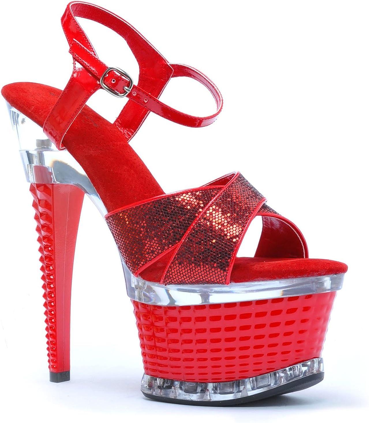 Ellie Shoes 6 Inch Heel Cross Vamp Strap Textured 2 Inch Platform Red Glitter;11