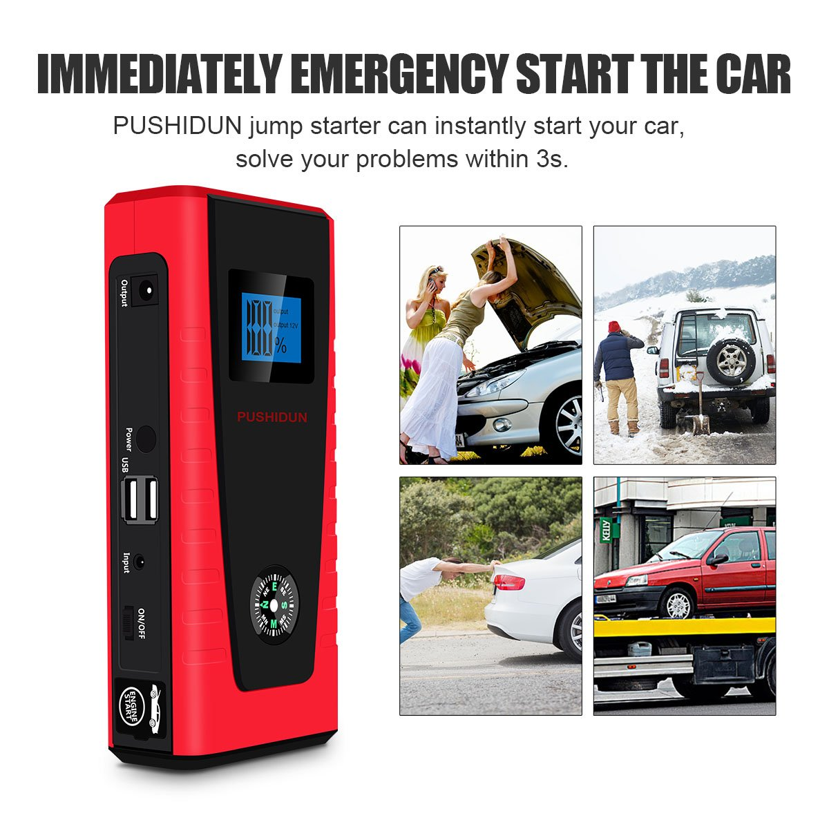 Car Jump Starter up to 6L Gas /& 3L Diesel Engine 800 amp Peak 16000mAh Lithium Battery Booster Power Pack built in Flashlight