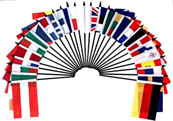 POLAND TABLE FLAG SET of 3 flags and base