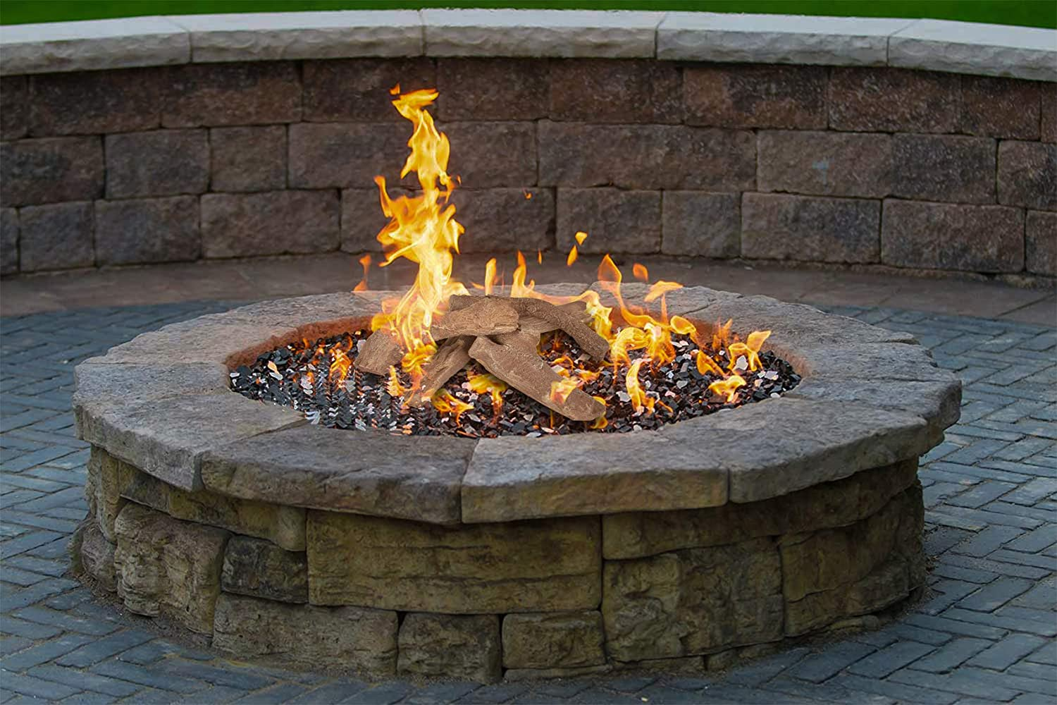 4 Piece Set Propane Stanbroil Fireplace Wood Logs for All Types of Ventless Gel Indooror or Outdoor Fireplaces and Fire Pits Electric Ethanol