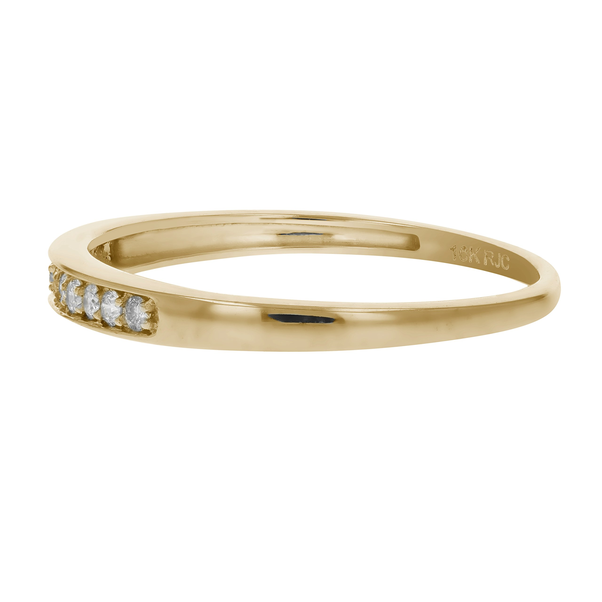1/10 ctw Petite Diamond Wedding Band in 10K Yellow Gold In Size 9.5 by Vir Jewels (Image #2)