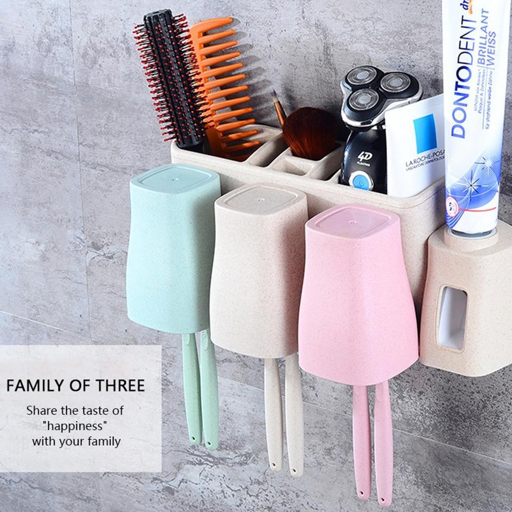 Umiwe Juego de porta cepillos de dientes, dispensador automático de pasta de dientes Tazas de gárgaras antipolvo Portacepillos de múltiples capas con ...