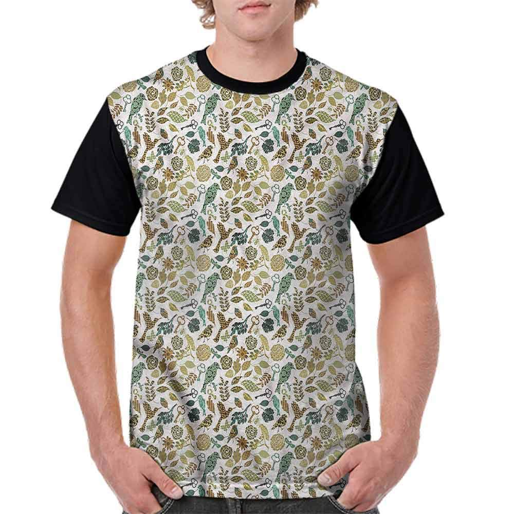Casual Short Sleeve Graphic Tee Shirts,Birds and Dragonflies Fashion Personality Customization
