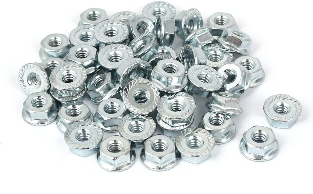 Pack of 20 5//16x 24 Carbon Steel Serrated Hexagonal Flange Safety Nuts