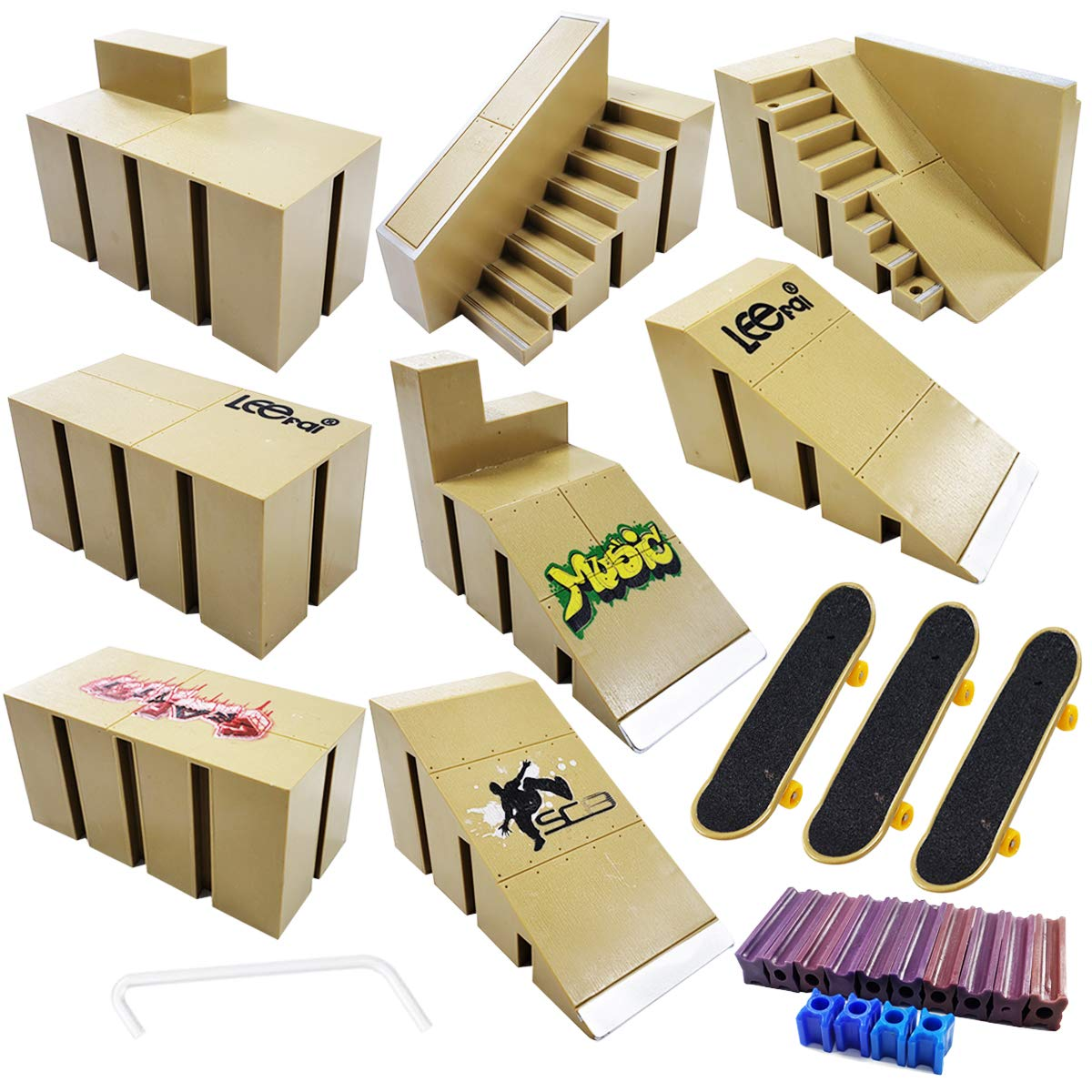 Ispeedytech 9pcs Professional Skate Park Kit Ramp for Mini Fingerboards Finger Skateboard by Ispeedytech (Image #3)