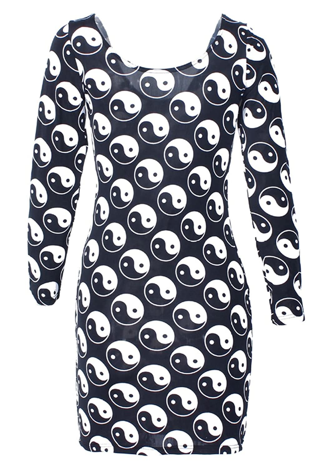 Pink Queen Womens Digital Print Scoop Neck Long Sleeve Bodycon Dress yin-yang symbol Large