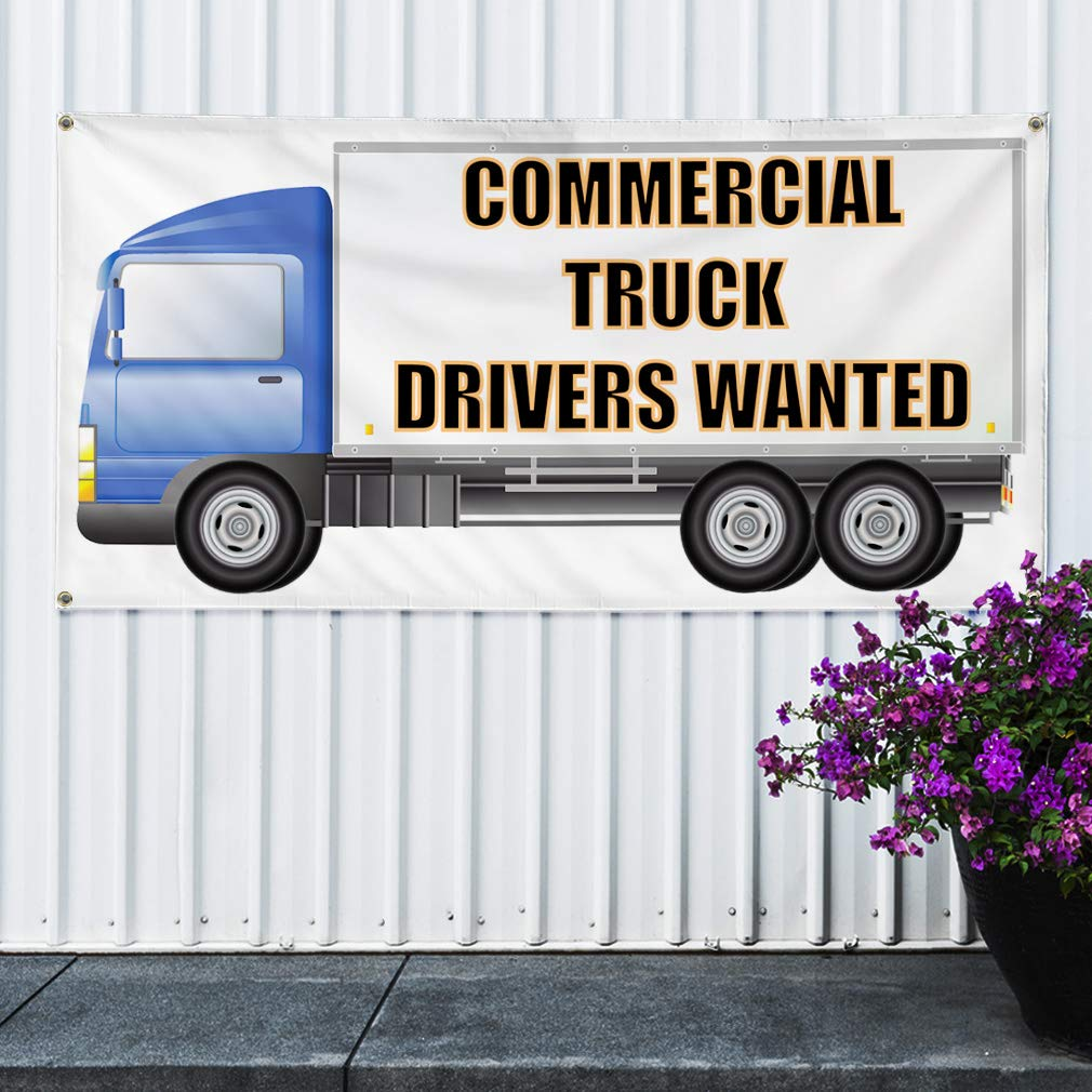 28inx70in Set of 2 4 Grommets Multiple Sizes Available Vinyl Banner Sign Commercial Truck Drivers Wanted #1 Style C Marketing Advertising White