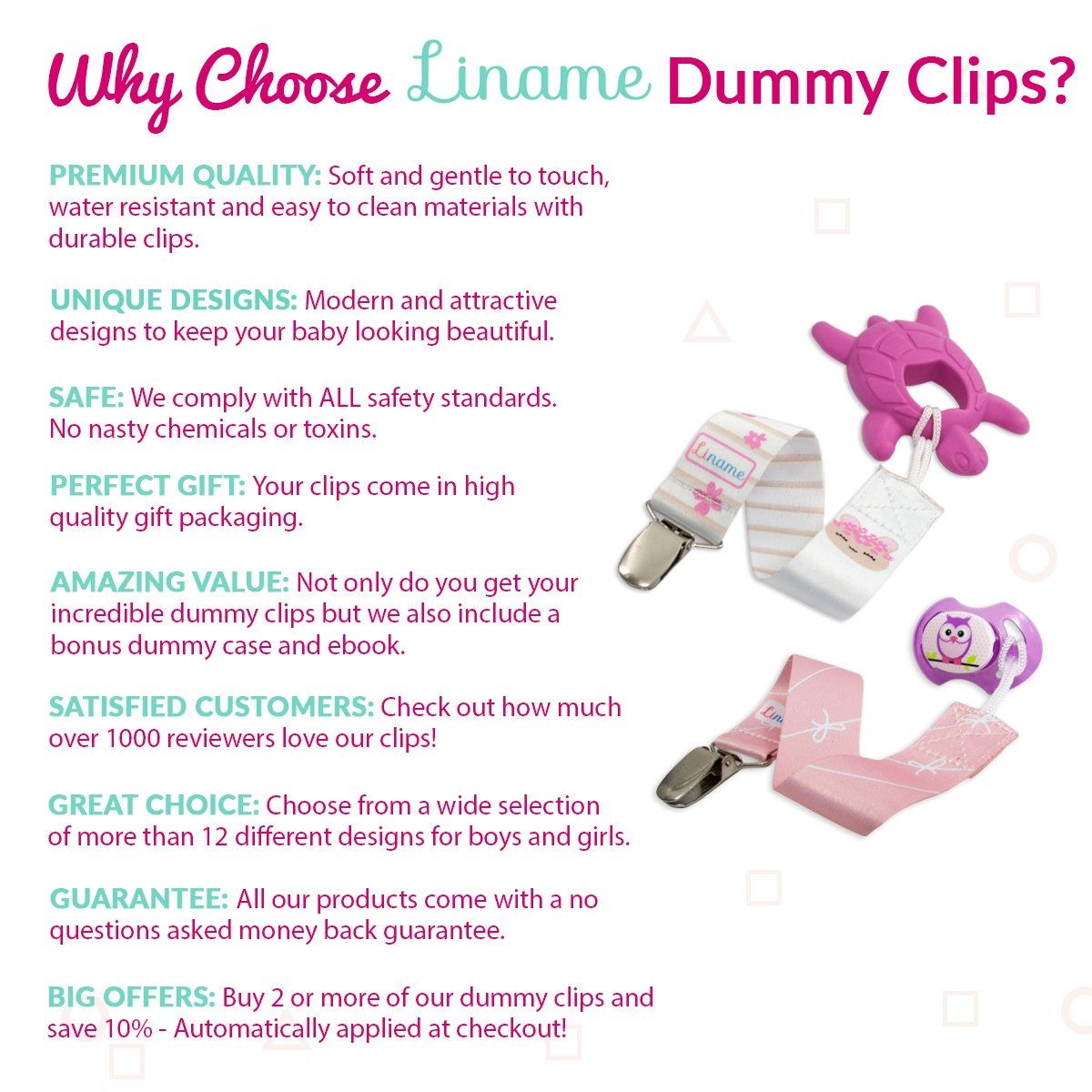 Special Offer Liname Dummy Clip For Girls With Bonus Case High Resolution Dummies Baby Pacifier Ebook 4 Pack Gift Box Premium Quality Unique Design Clips Fit All