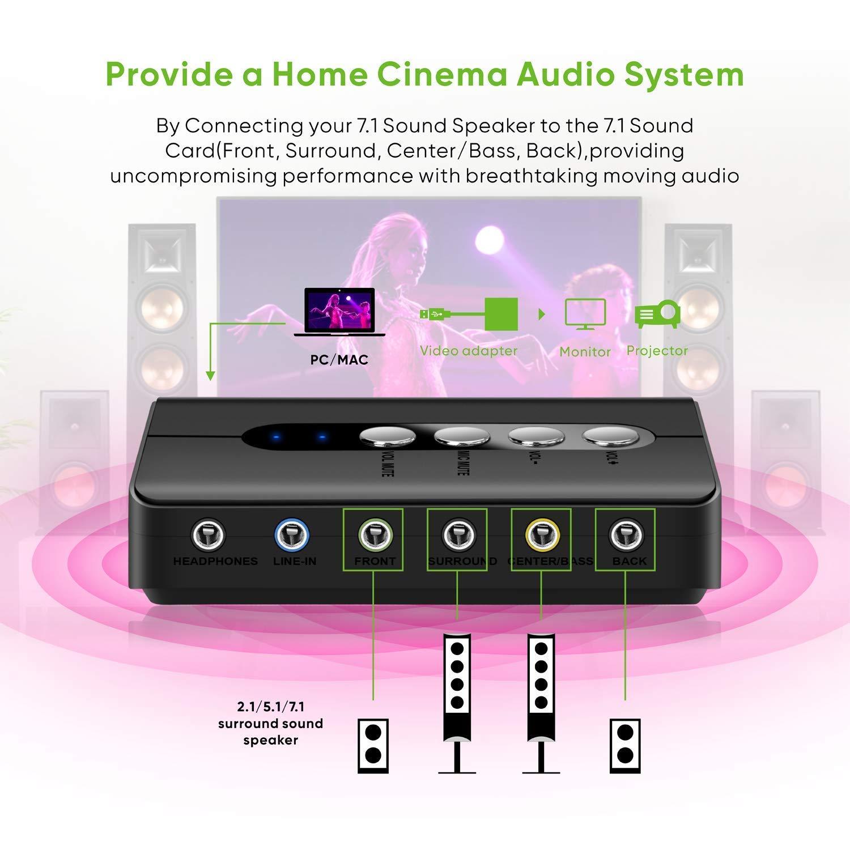 Easy-Link Tarjeta de sonido USB 7.1 Externa 8 canales 7.1 Surround Adaptador Audio USB con SPDIF Audio - DAC Convertidor Audio para PC Altavoces ...