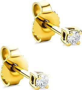 Orovi Pendientes para mujer con diamantes de oro amarillo de 14 quilates (585) y diamantes brillantes de 0,08 quilates, hechos a mano en Italia