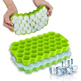 Ice Cube Trays, WETONG 2 Pack Silicone Ice Cube Molds with Lid Flexible 74-Ice Trays BPA Free, for Whiskey, Cocktail…