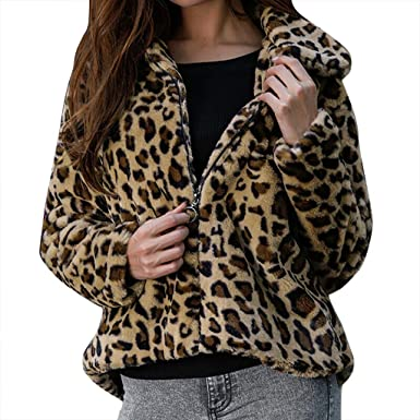 Women Coat Fashion Fleece Leopard Print Lapel Long Sleeve Cardigan