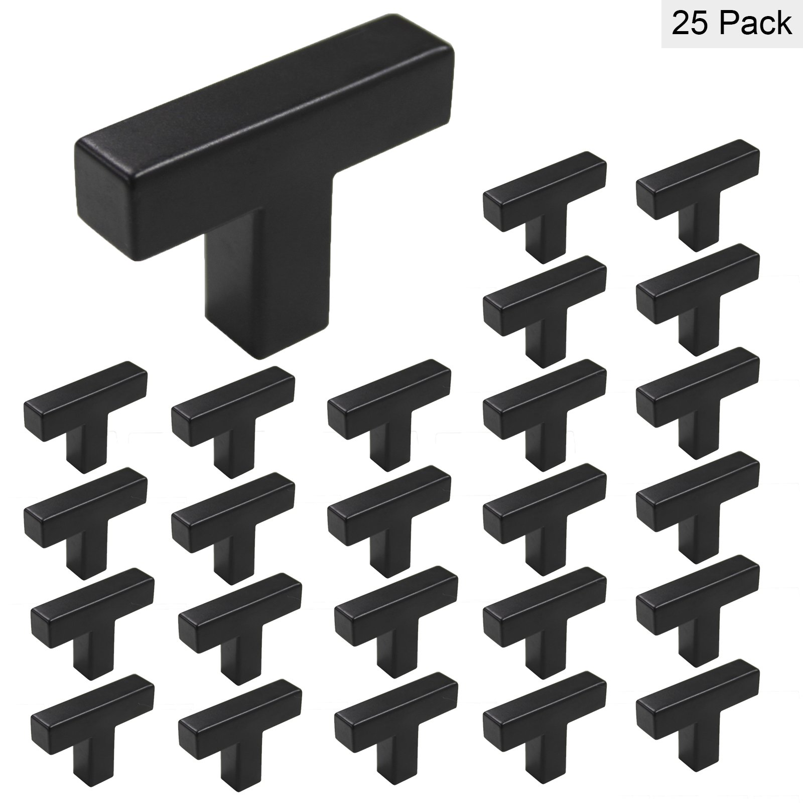 Modern Drawer Pulls Flat Black Stainless Steel Square Single Hole T Knob - Homidy HDJ12 Cabinets Knobs Handles For Kitchen Cupboard Bathroom Storage 25Pack