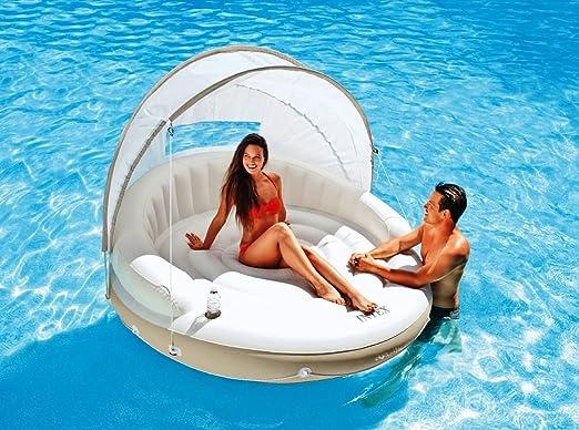 Tumbona para Circular flotante con diseño de toldo piscina ...