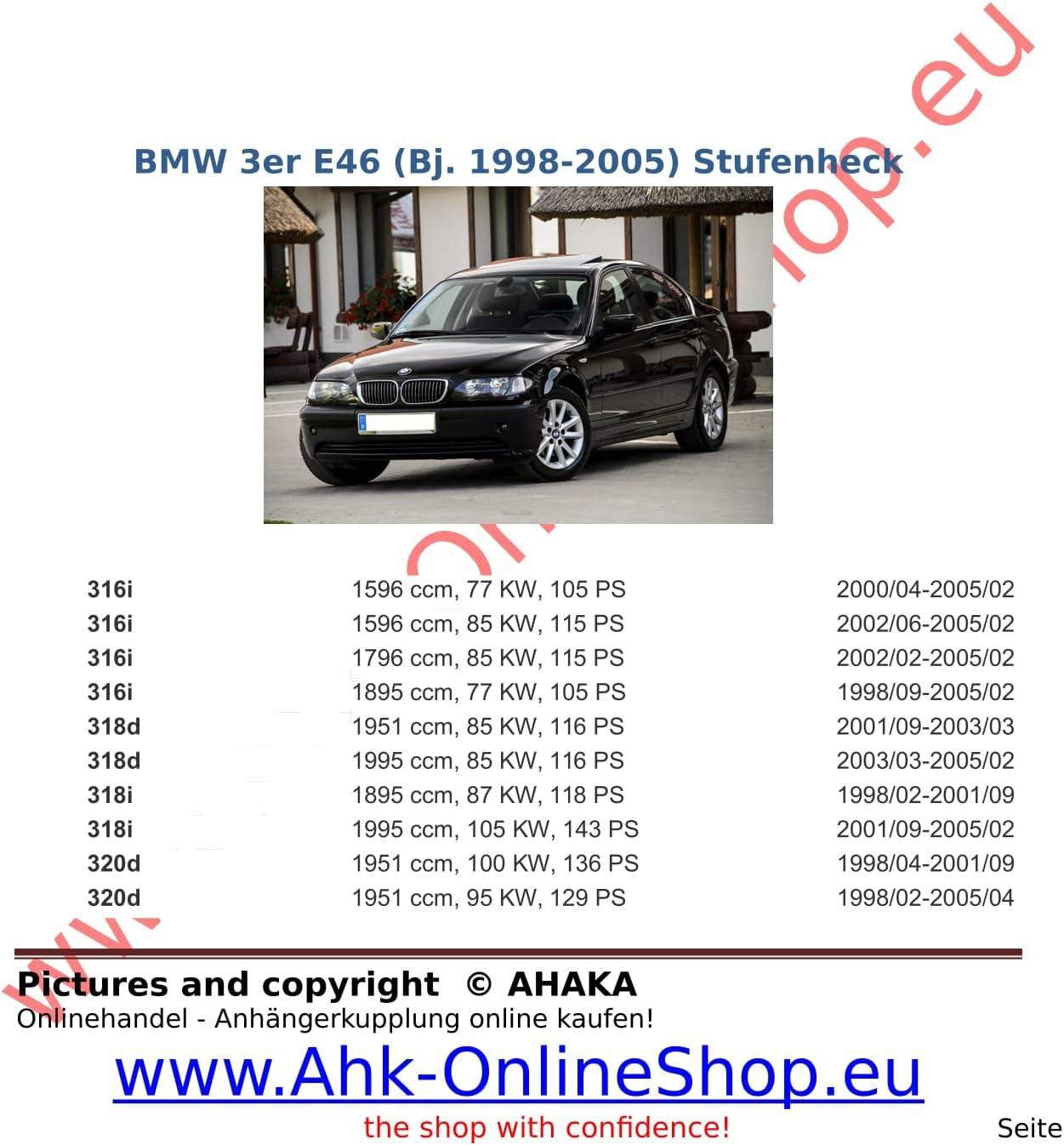 Abnehmbare Anhängerkupplung für BMW 3er Touring 10.1999-02.2005 E46 Auto Hak ABE