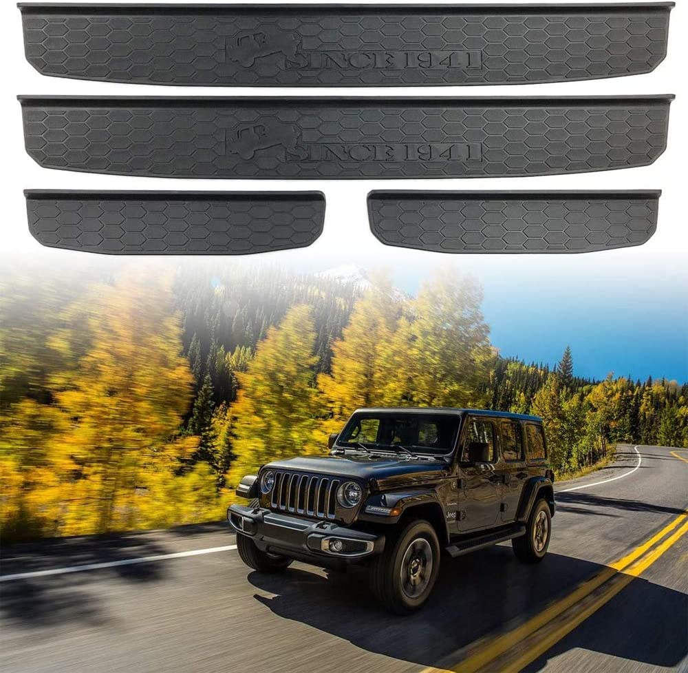 Black 4pcs Door Sill Guards Fit for 2018-2019 Jeep Wrangler JL and 2020 Jeep Gladiator JT Accessories Cover with Since 1941 Logo