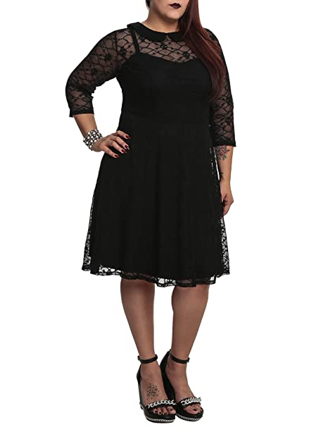 Tripp NYC Plus Size Gothic Black Skull Lace Overlay Dress at ...