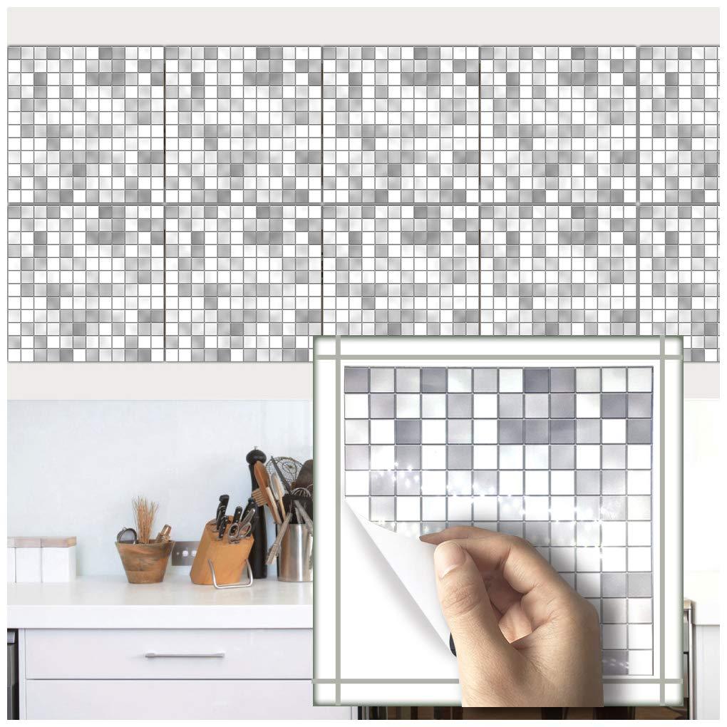 VANCORE mosaico piastrelle nero e bianco–stampato in 2D da cucina/bagno piastrelle piastrelle trasferimenti quadrato–20x 20cm (confezione da 10), PVC, Orange, 20 * 20cm-10Pieces