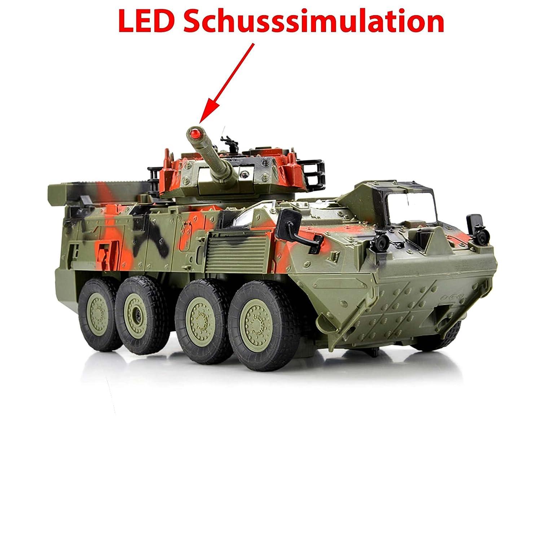 Leopard tanque teledirigido Lucha carro vehículo militar, neumáticos con disparos Simulación y giratorio barem Torre para 180 °, vehículos, Set ...