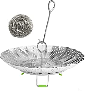 """Vegetable Steamer Basket,Stainless Steel Folding Steamer Basket Insert for Cooking Veggies/Fish Seafood/Boiled Eggs with Safety Tool,Adjustable Sizes to fit Various Pots(5.5"""" to 9"""")"""