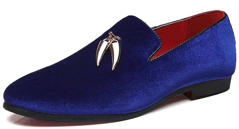 Mocasines De Los Hombres Zapatos Casuales De Moda Cómodo Talla Grande De Terciopelo Superior 43EU|Blue