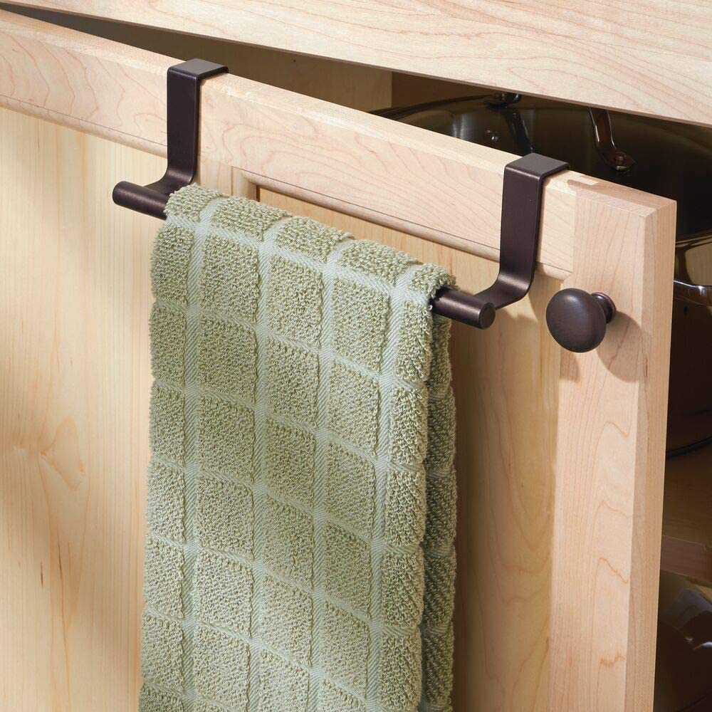 Amazon Com Mdesign Decorative Metal Kitchen Over Cabinet Towel Bar Hang On Inside Or Outside Of Doors Storage And Display Rack For Hand Dish And Tea Towels Bronze Home Improvement