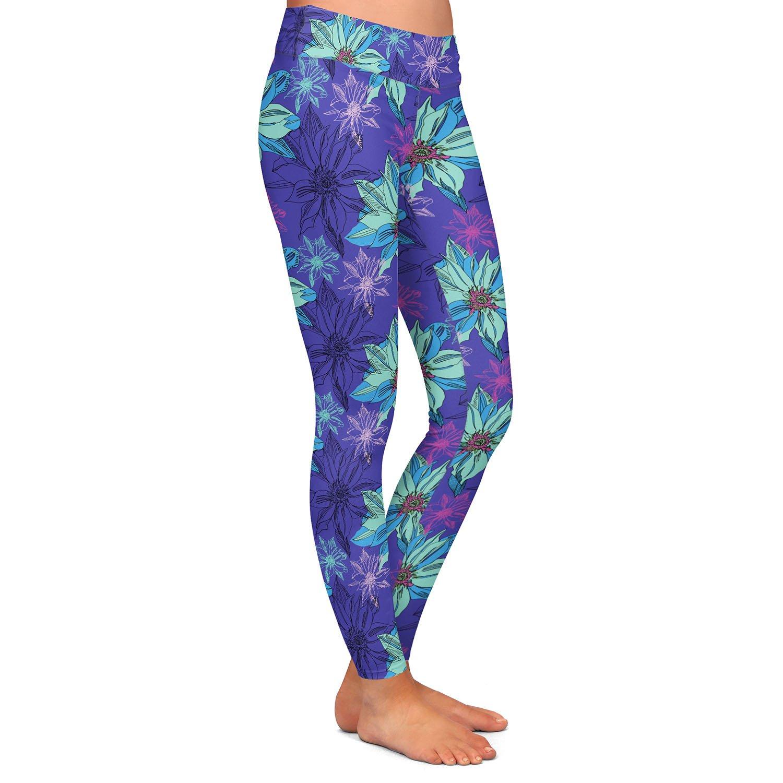 Shaded Flower Purple Blue Athletic Yoga Leggings from DiaNoche Designs by Yasmin Dadabhoy