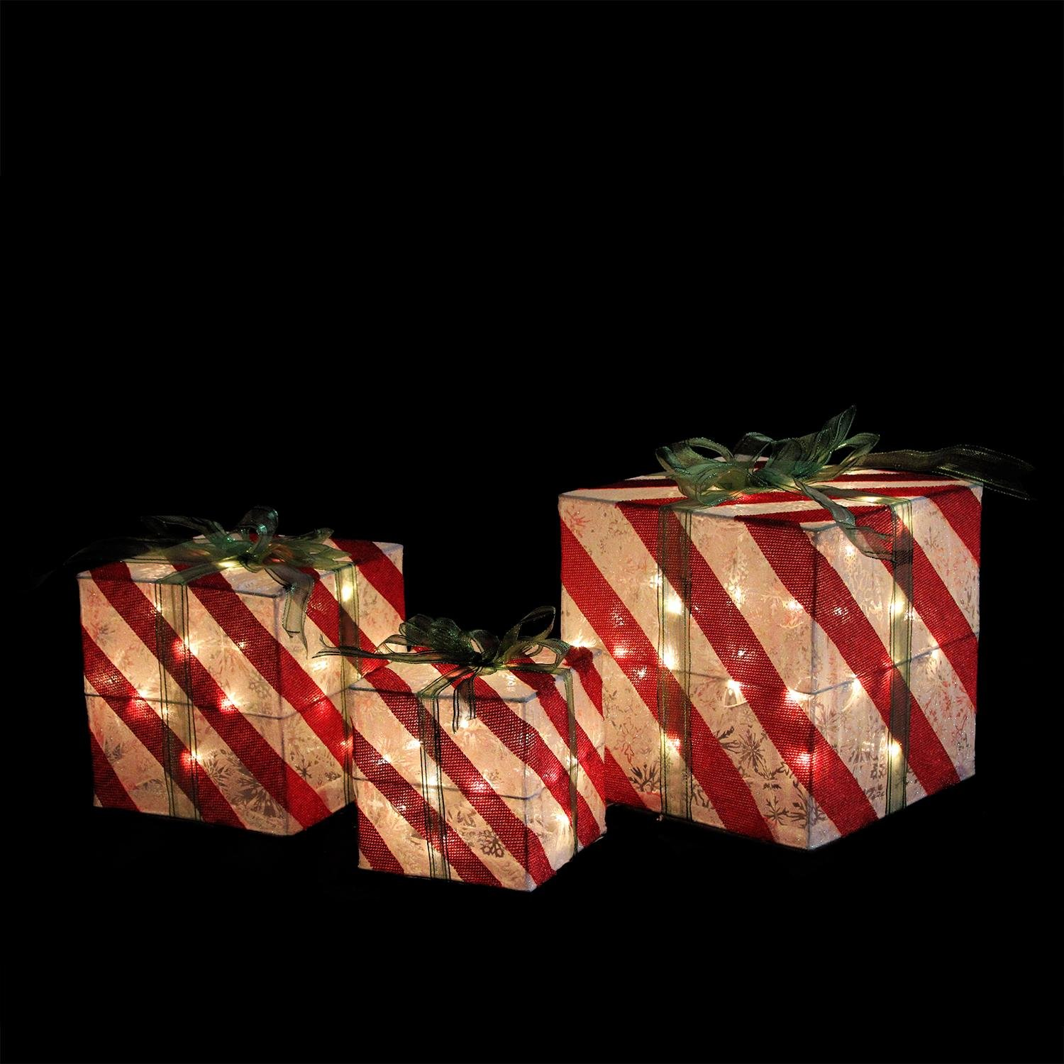Northlight Set of 3 Lighted Red and White Striped Gift Box Outdoor Christmas Decorations