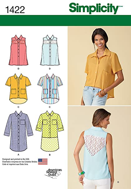 69962b221f Amazon.com  Simplicity Creative Patterns 1422 Misses  Button Up Mini-Dress  or Shirt with Variations