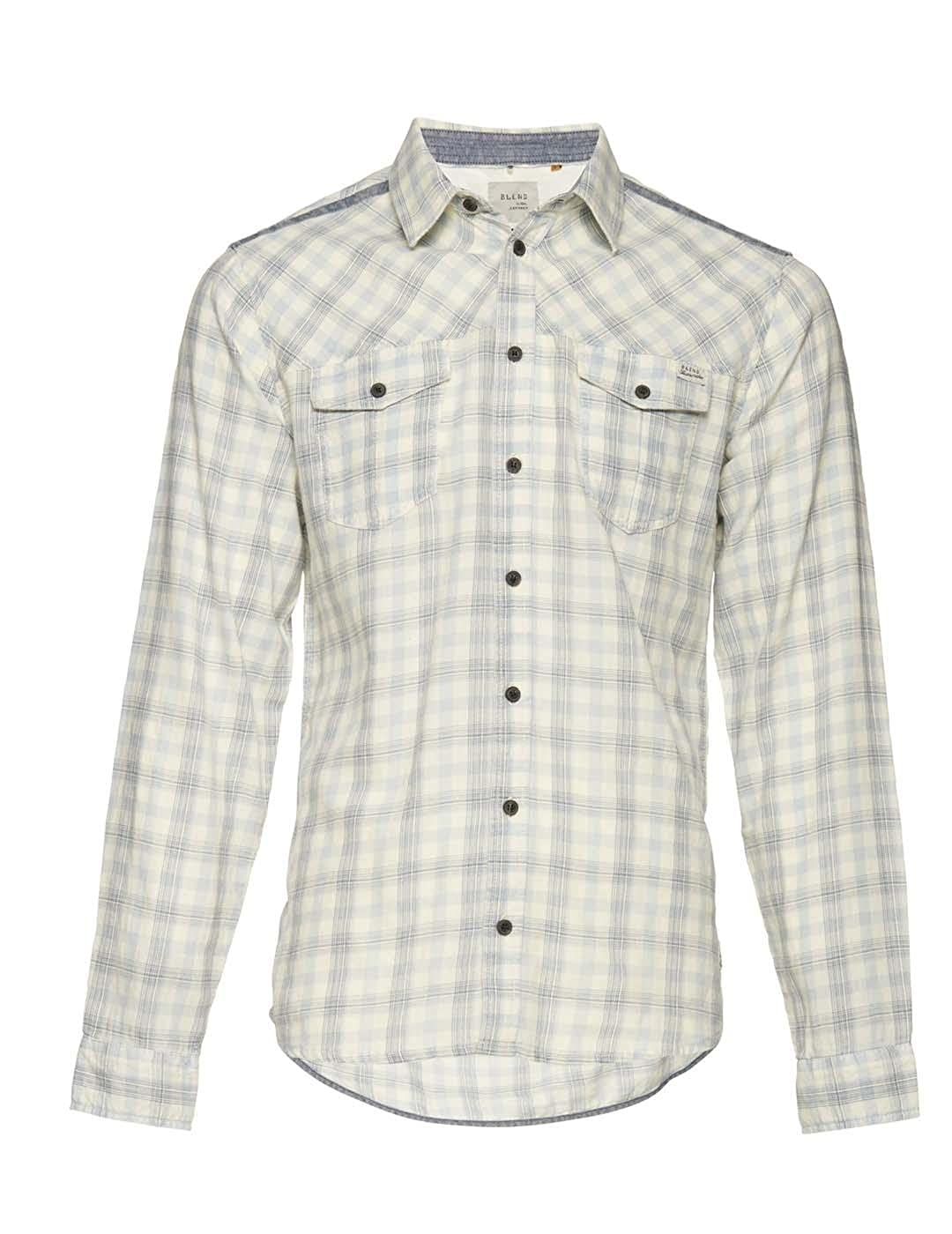 TALLA L. Blend Camisa de Cuadros Blanco