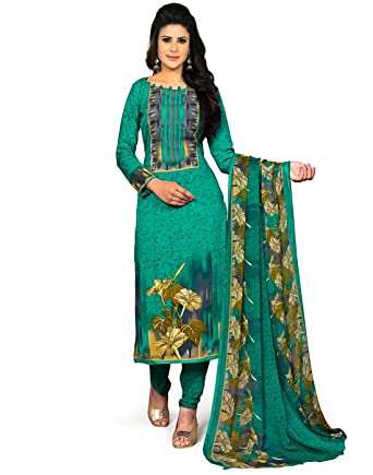 fdb80ebfd7 Jevi Prints Women's Unstitched Synthetic Crepe Rama Green Floral Printed  Salwar Suit Dupatta Material (SVS-1415): Amazon.in: Clothing & Accessories