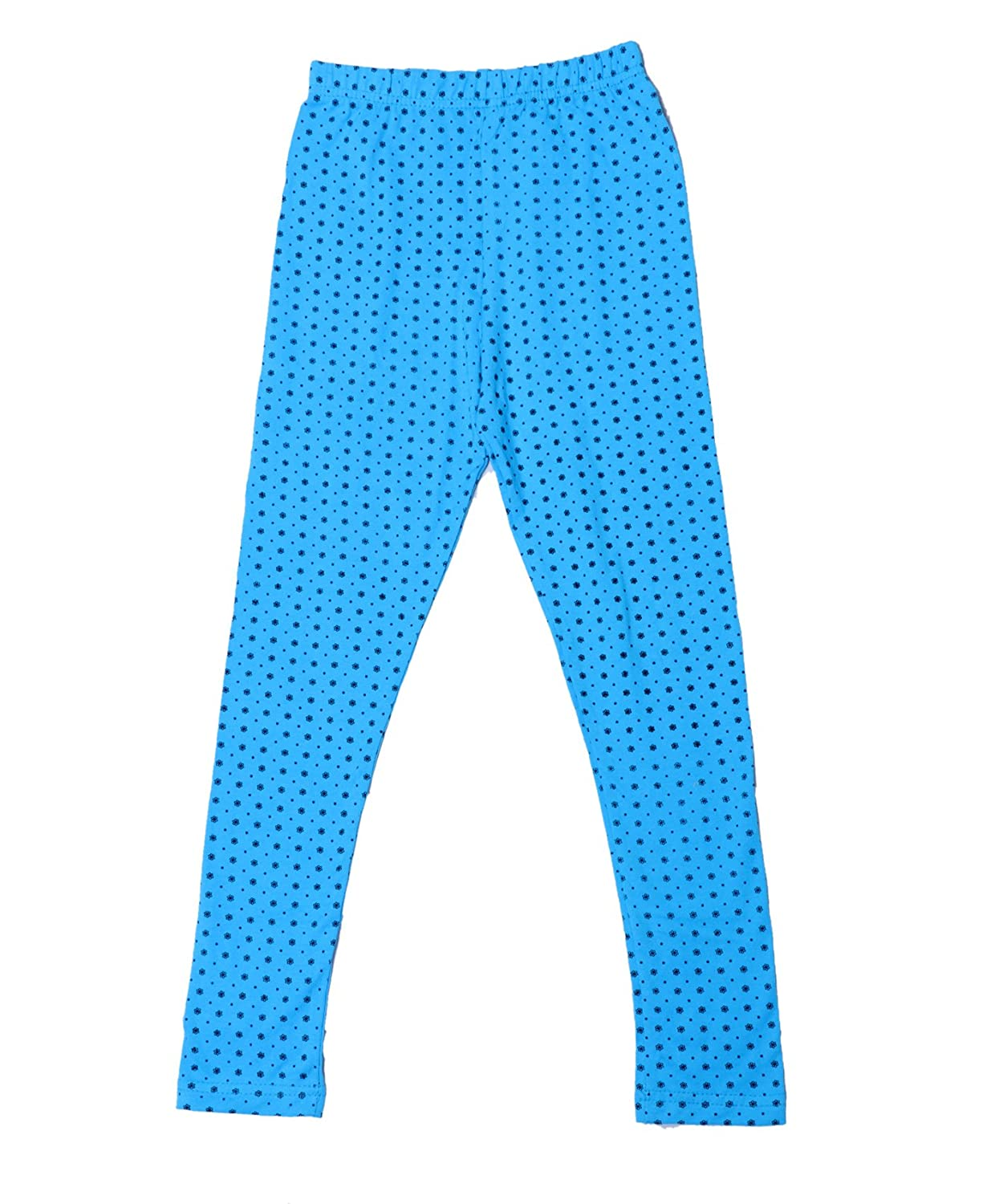 Indistar Girls Super Soft and Stylish Sky Blue Cotton Printed Legging Pants
