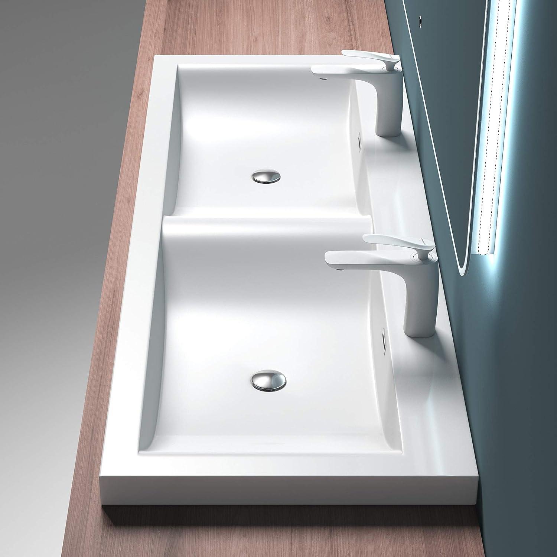 Mai /& Mai Lavabo /à encastrer blanc 60cm vasque lave mains rectangulaire en r/ésine lavabo avec trop-plein Col01 60x48x13cm
