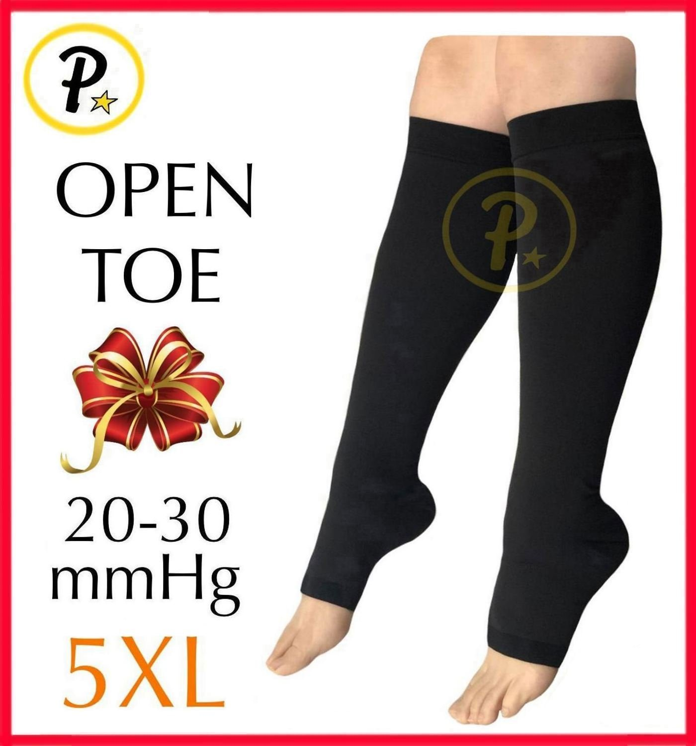 Presadee (BIG & TALL SUPER SIZE) Traditional Open Toe 20-30 mmHg Graduated Medical Compression Ankle Leg Calf Swelling Relief Support Sock (Black, 5XL) by Presadee (Image #1)