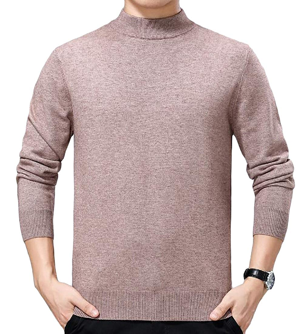 Wofupowga Mens Fall//Winter Mock Neck Pullover Knit Solid Color Jumper Sweaters