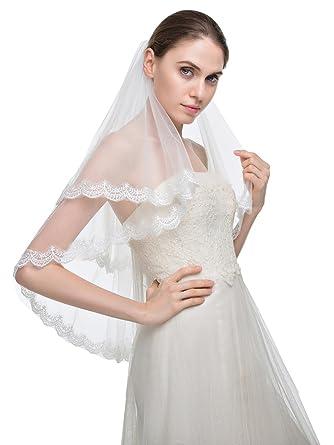 6c309416d2 Edith qi Velo 2 Capa Codo brillantes apliques afiladas cordón Velos de novia  con peine  Amazon.es  Ropa y accesorios