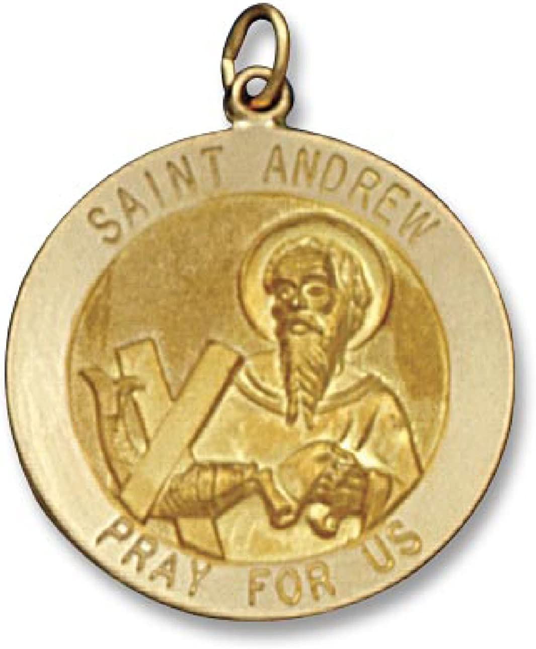 ITI Findings Genuine 14K Yellow Gold Round Saint Andrew Medal