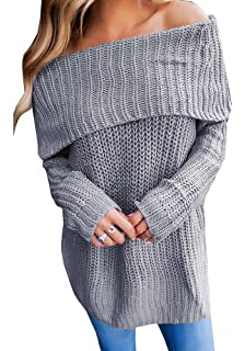 5af4a8008a0 Geckatte Womens Off The Shoulder Sweaters Loose Knit Jumper Long Sleeve  Pullover Sweater Tops