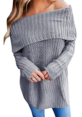 680d56ae822c Geckatte Womens Off The Shoulder Sweaters Loose Knit Jumper Long Sleeve Pullover  Sweater Tops