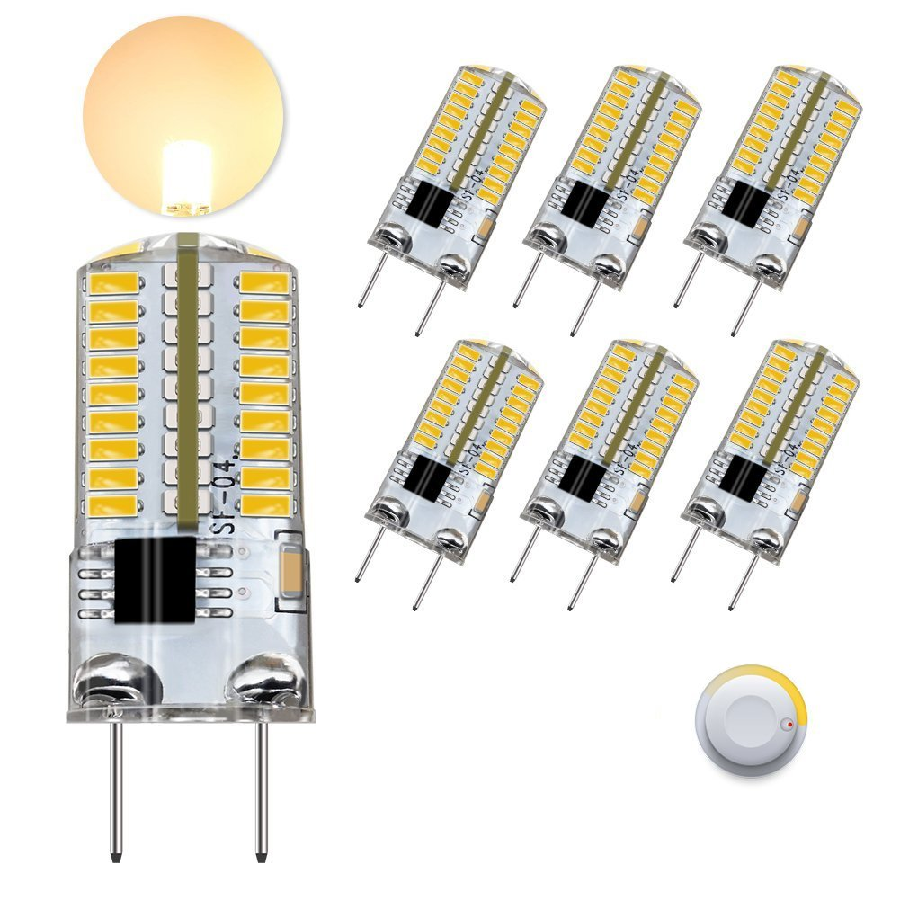 DiCUNO G8 LED Bulb Dimmable, 3W Daylight White 6000k 350lm, G8 Bi Pin Base Light for Under Cabinet Counter Microwave, 30w Equivalent Halogen Replacement, 6-Pack.
