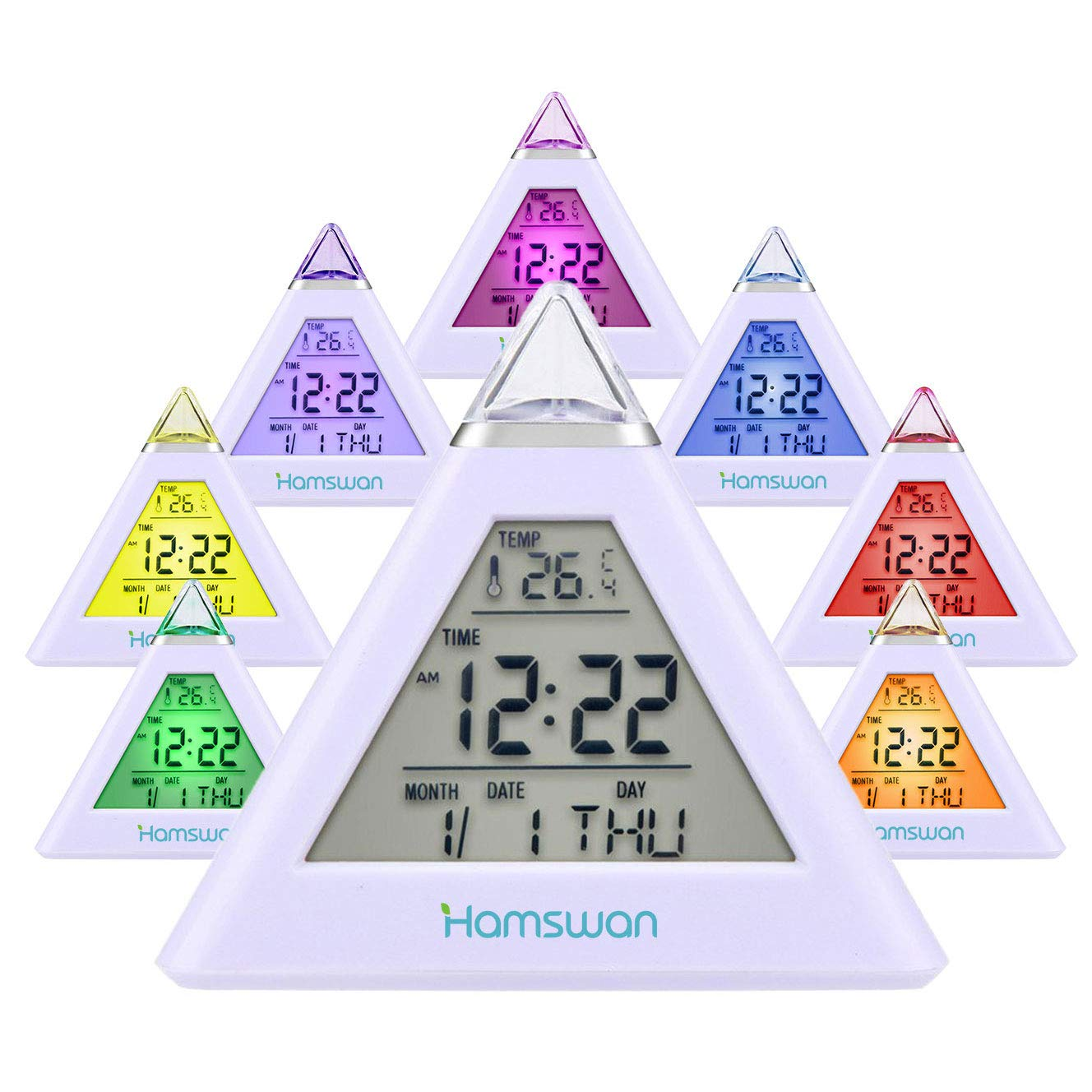 HAMSWAN Digital Alarm Clock for Kids, 7 LED Color Change, Children Clock with Temperature