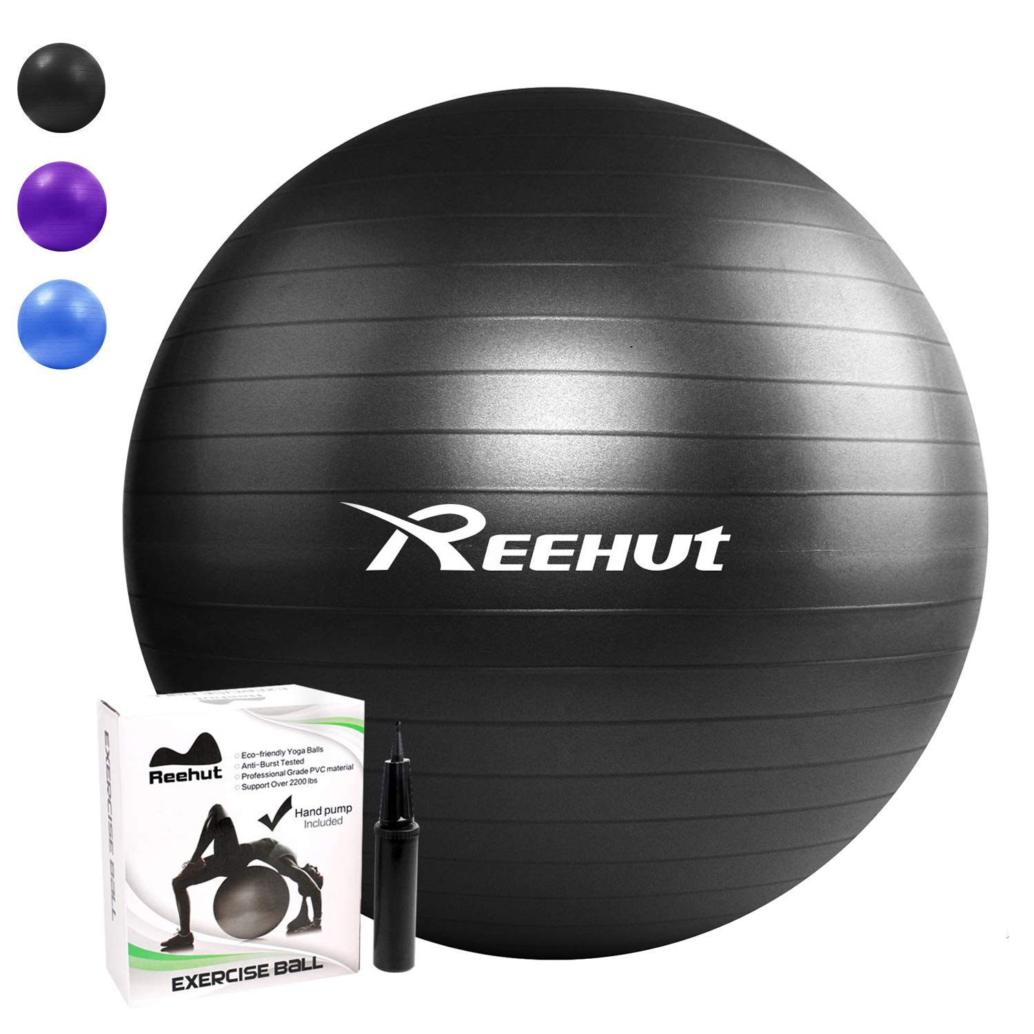 Exercise Ball 75cm Anti Burst: REEHUT Exercise Ball (55-85cm), 1100 Lbs Yoga Ball Chair