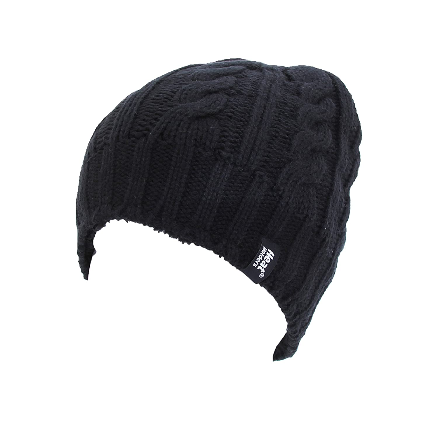 d628643ea8a Amazon.com  Heat Holders Ladies Womens Ribbed Thermal Winter Hat (3.4 Tog)  (One Size) (Black)  Clothing