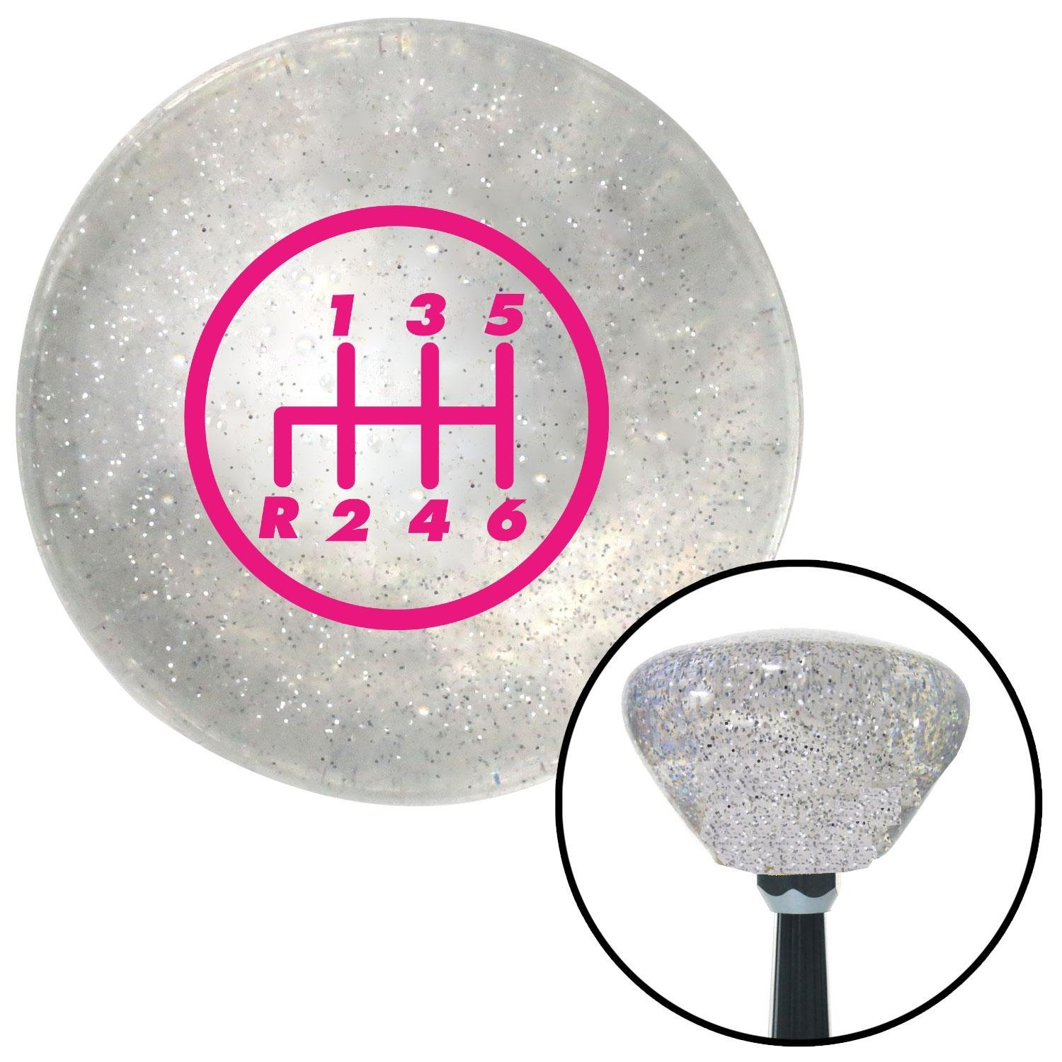 Pink 6 Speed Shift Pattern - 6RDL American Shifter 159161 Clear Retro Metal Flake Shift Knob with M16 x 1.5 Insert